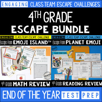 End of Year Escape Room for 4th Grade Bundle: Reading & Math Challenges