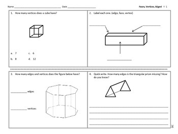 Test Prep: Faces, Edges and Vertices