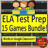 Test Prep Games  - 15 PowerPoint Reading ELA Jeopardy Activities Language Arts