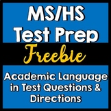 Test Prep --MS/HS  Advanced Verbs Academic Language in Tes