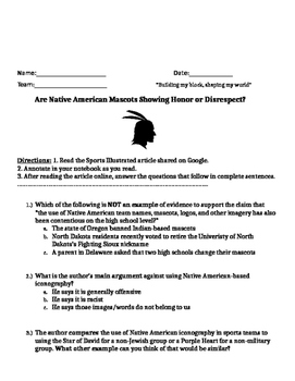 Test Prep High Interest article on Native American Mascots