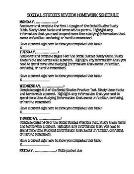 Test Prep Homeworks Schedule