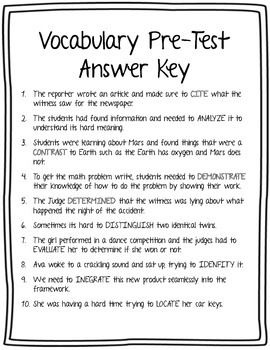 Test Prep: Important Vocabulary Verbs and Nouns