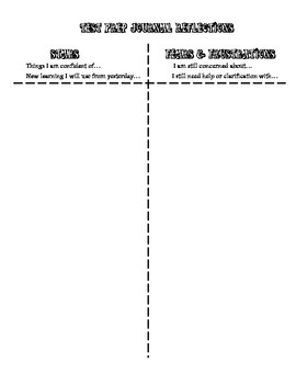 Test Prep Journal Reflection Activity Page