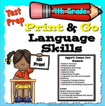 Test Prep Language Skills 4th Grade Print and Go