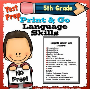 Test Prep Language Skills 5th Grade Print and Go