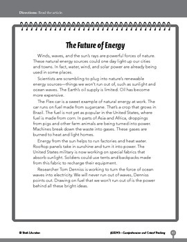 Test Prep Level 3: The Future of Energy Comprehension and