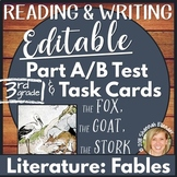 Reading Comprehension Test Prep Part A Part B Writing Editable Fables 3rd Grade