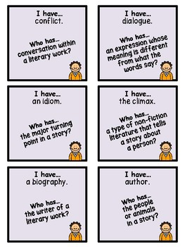 Test Prep Literary Terms - I Have, Who Has...? Game