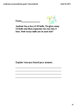 Test Prep Multiple Step Word Problems Grade 3.OA.1,2,3,4,8,