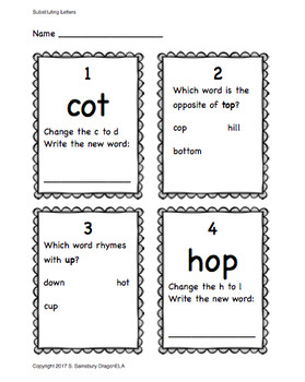 Test-Prep:  Opposites, Rhyming Words, Substituting a Letter to Make a New Word