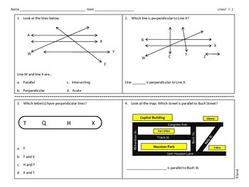 Test Prep: Parallel, Intersecting and Perpendicular lines