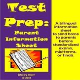 Test Prep: Bilingual Parent Information Sheet