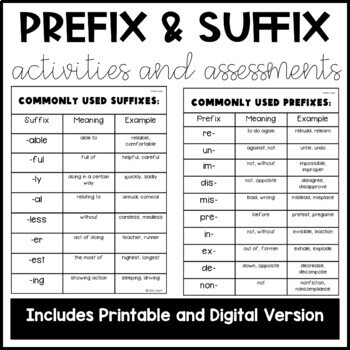 Prefix and Suffix Activities and Assessments