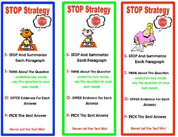 Test Prep- Reading Test Taking Strategies Bookmark and Poster