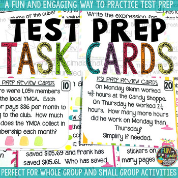 Math Test Prep Review Task Cards & Game
