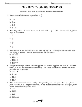 Test Prep / Review Worksheets Middle School Math