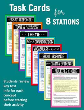 Test Prep STATIONS for ELA Test Practice - Grades 6 7 8