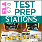 ELA Test Prep STATIONS for ELA Test Practice Middle School