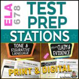 ELA Test Prep STATIONS for ELA Test Practice - Print & Dig
