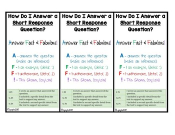 Test Prep - Short Response Bookmark