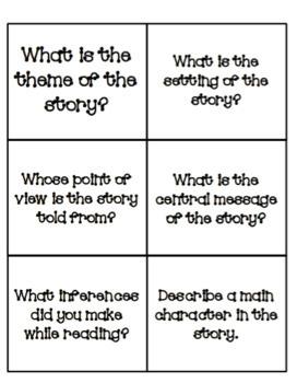 Test Prep Story Element Flash Cards