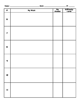 Math Test Prep: Student Work Sheet