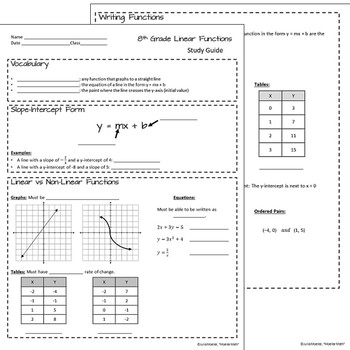 Test Prep Study Guide: Linear Functions