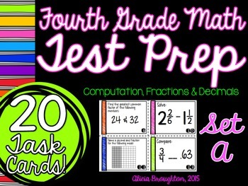 Test Prep Task Cards - Computation, Fractions & Decimals