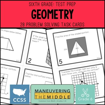 6th Grade Math Test Prep Geometry Task Cards