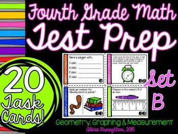Test Prep Task Cards - Graphing, Geometry, Measurement