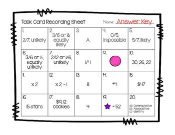 Test Prep Task Cards - Probability, Patterns & Algebra