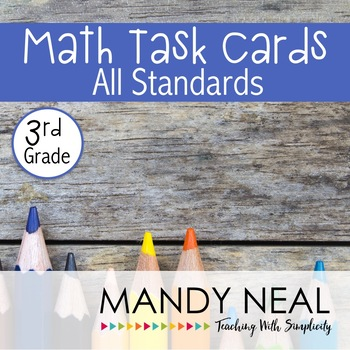 Test Prep Task Cards for 3rd Grade Common Core Math * Incl