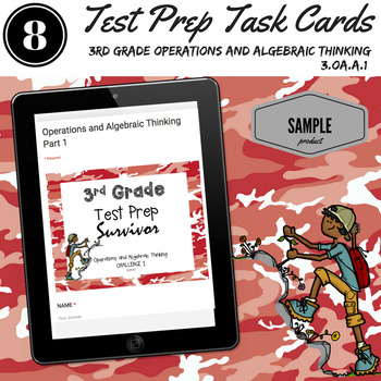 WORD PROBLEM Task Cards for 3rd Grade Math Test Prep or Re
