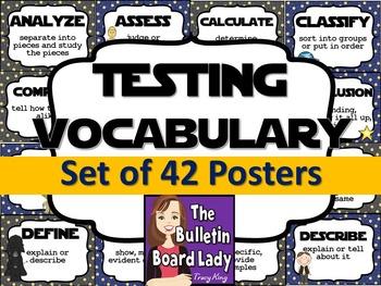 Test Prep Testing Words Bulletin Board Set of 42: Far Away Galaxy