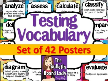 Test Prep Testing Words Bulletin Board Set of 42: Pixelation Background