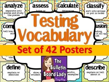 Test Prep Testing Words Bulletin Board Set of 42: Summer Colors
