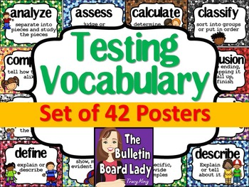 Test Prep Testing Words Bulletin Board Set of 42 with smiling characters