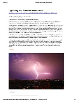 Test Prep:  The Story of Lightning and the Thunder