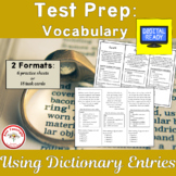 Test Prep Vocabulary: Using Dictionary Entries + Free BOOM Cards