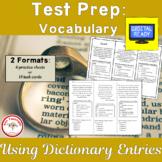 Test Prep Vocabulary: Using Dictionary Entries + Free BOOM Cards