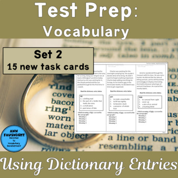 Test Prep Vocabulary: Using Dictionary Entries Set 2