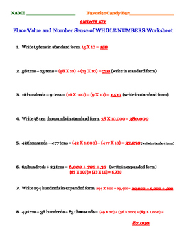 Test Prep Whole Numbers Place Value Number Sense Order of Operations