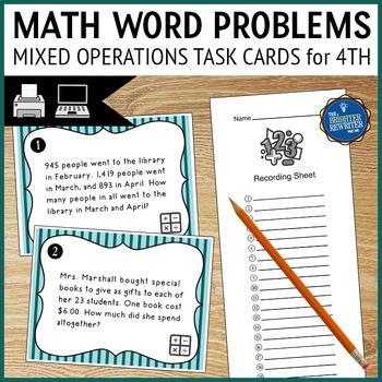 Math Test Prep Word Problems Task Cards
