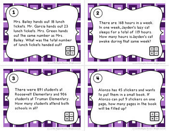 Math Test Prep Word Problems Task Cards