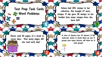 Test Prep Word Problems Task Cards