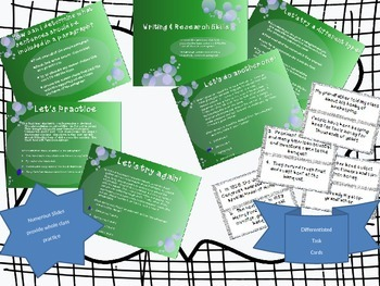 Test Prep - Writing & Research Skills Powerpoint and Task Cards