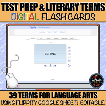 Test Prep and Literary Terms DIGITAL Flash Cards (English Language Arts)