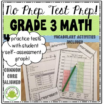 Test Prep for Grade 3 Math - Four Quick Practice Tests - No Prep!