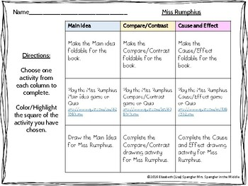 ELA Test Prep with Miss Rumphius ~ Choice Board/Menu with INB foldables + more!